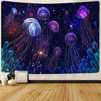 Simsant Mushroom Forest Tapestry Psychedelic Sea Jellyfish Art Wall Hanging Tapestries for Living Room Home Dorm Decor - discount item  20% OFF Home Decor
