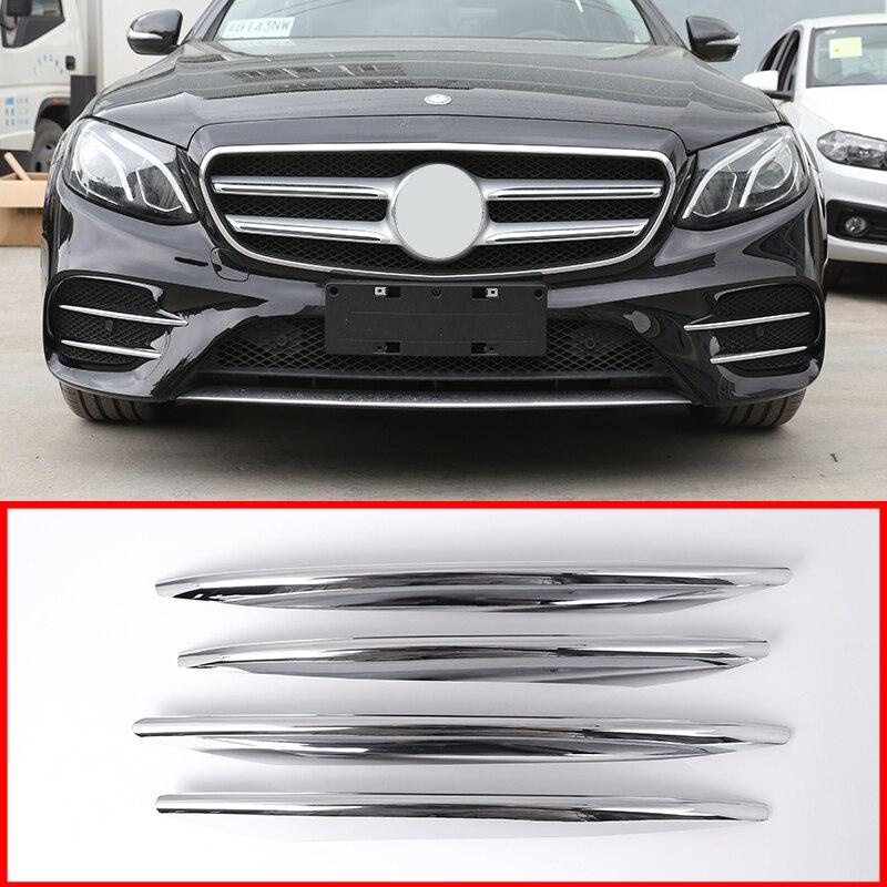4pcs Carbon Fiber ABS Front Fog Lamp Trim Cover for Mercedes Benz E Class W213 E200 E300 2016 2018 E43 AMG Reset Car Accessories
