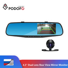 Podofo 4.3 Inch Ips Scherm Auto Achteruitkijkspiegel Full Hd 1080P Auto Camera Parking Nachtzicht Auto Dvr Dual lens Video Recorder(Hong Kong,China)
