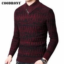 COODRONY Pull pour hommes, Pull en laine en cachemire, épais et chaud, Streetwear à la mode, col roulé, automne hiver, 91098