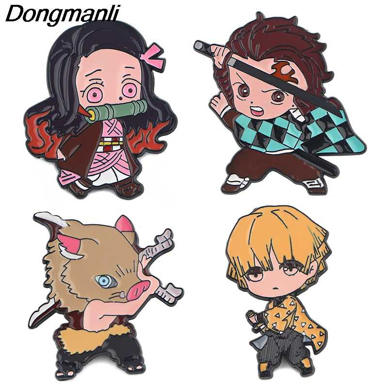 P4619 Dongmanli Anime Kimetsu nessun gioiello Yaiba Demon Slayer figura dello smalto Pin Spille Zaino Badge Lapel Collare Cap