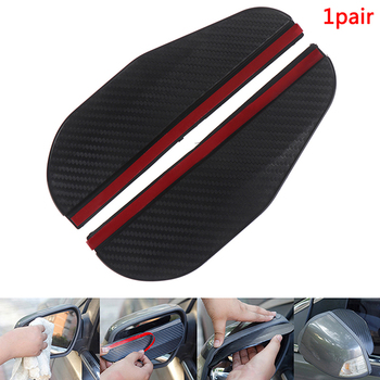 2pcs Car Side Rear View Mirror Rain Eyebrow Visor Carbon Fiber Look Sun Shade Snow Guard Weather Shield Cover Auto Accessories image