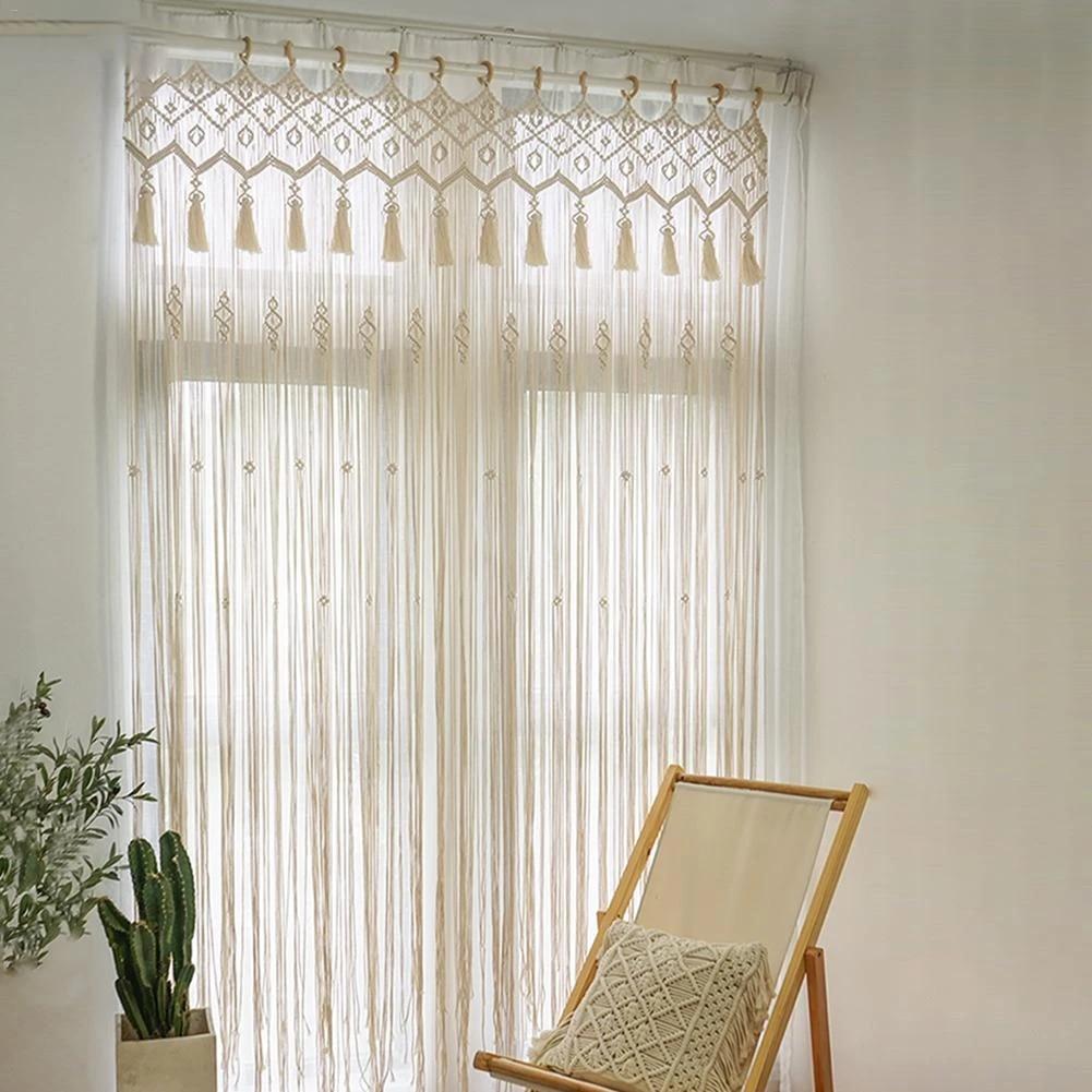 handmade macrame curtain wall hanging wedding backdrop decoration bedroom living room door window curtain blinds divider
