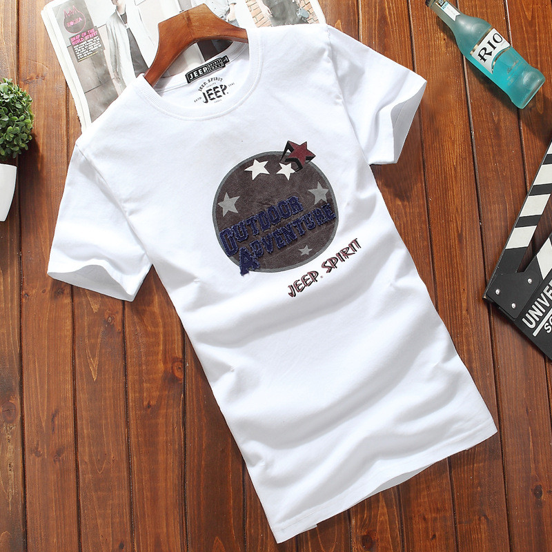 half-sleeved autumn clothes men's trend Men's short-sleeved T-shirt cotton bottoming shirt white round neck large size clothes