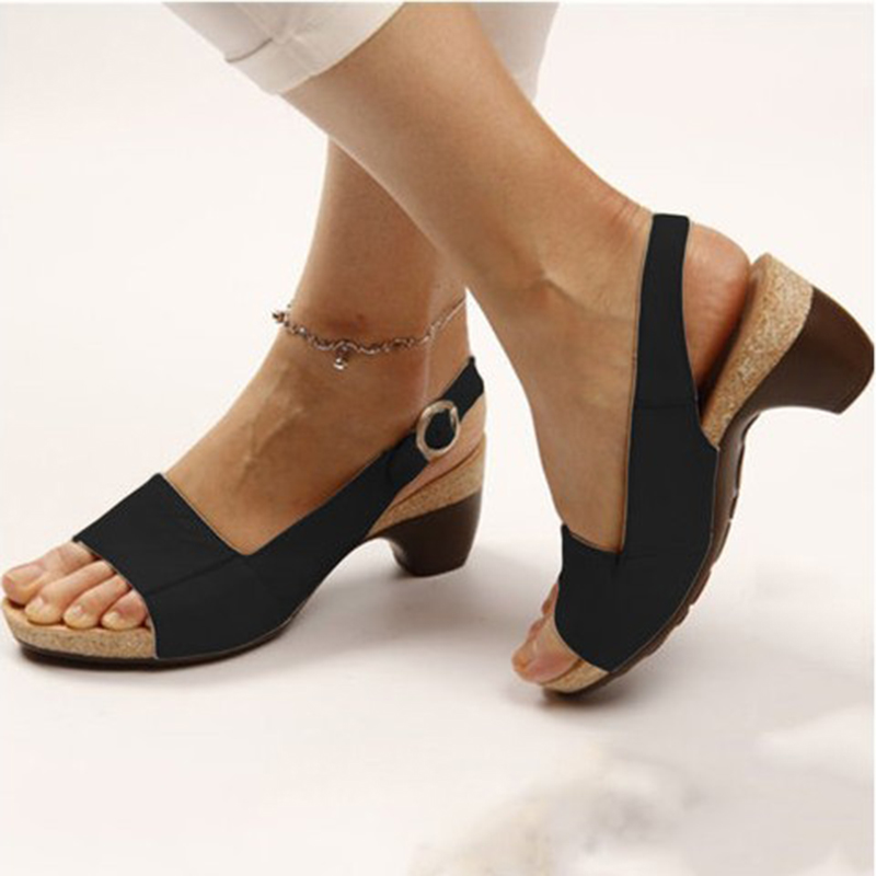 Plus Size Thick Heel Woman Sandals 2020 Summer New Peep Toe Buckle Wedges Shoes for Women Casual Shoes Sandals VT1009 (1)