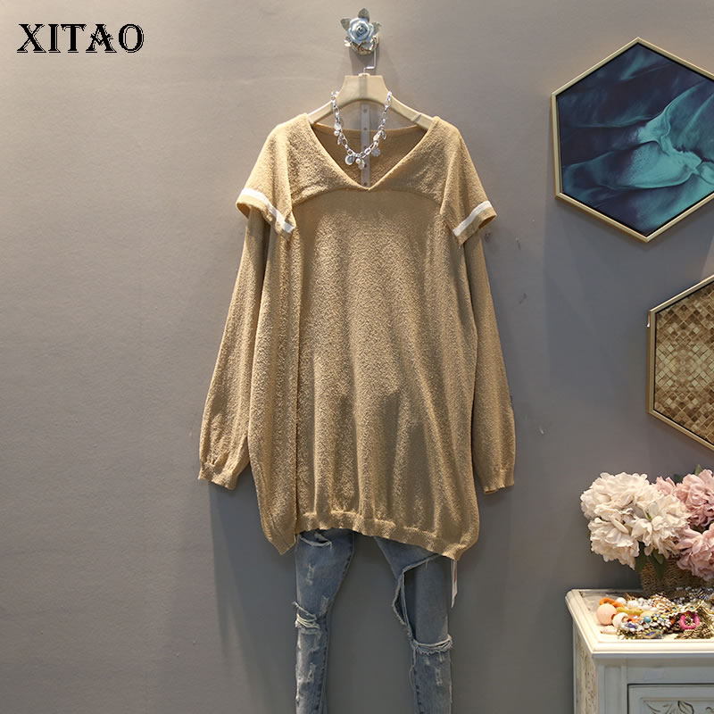 XITAO Plus Size Korean Elegant Knitted Women Clothes 2020 Spring New Fashion Match All Thin Turn Down Collar Sweatshirt XJ4103