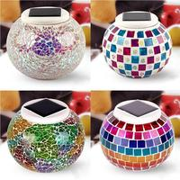 Home Decor Light Solar Charging Mosaic Glass LED Decorative Table Light View Night Light Fit Lawn/Courtyard Waterproof IP44 Lamp