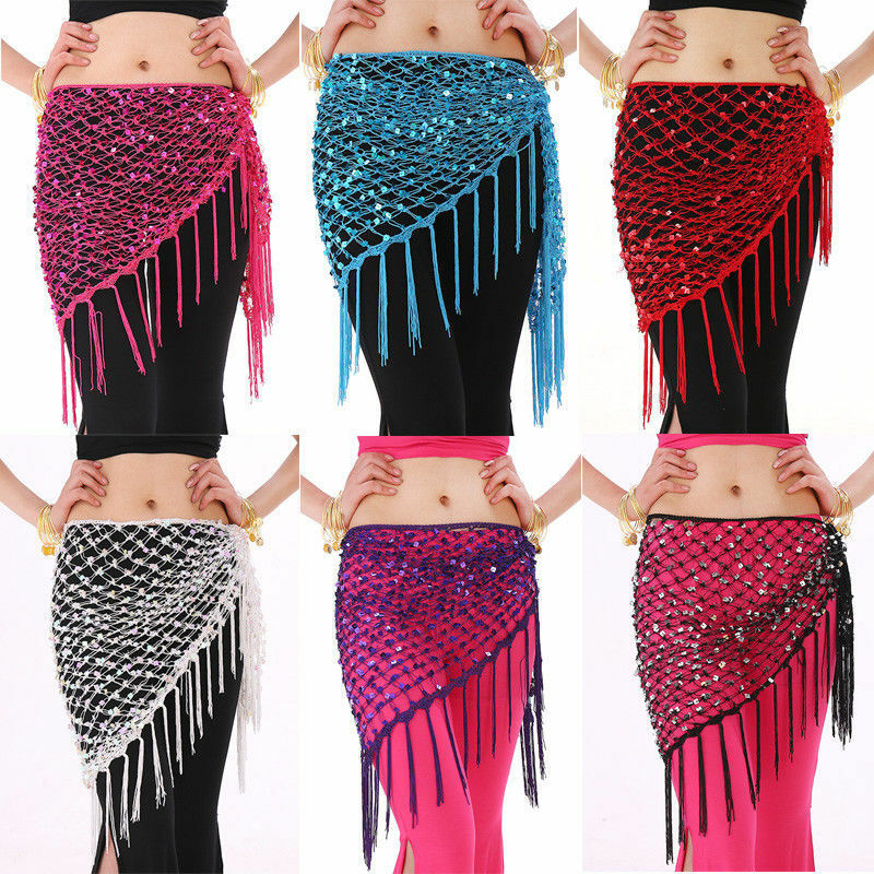 Women Belly Dance Hip Scarf Skirt Triangle Shawl Sequins Hollow Out Fish Net Costume 803-568