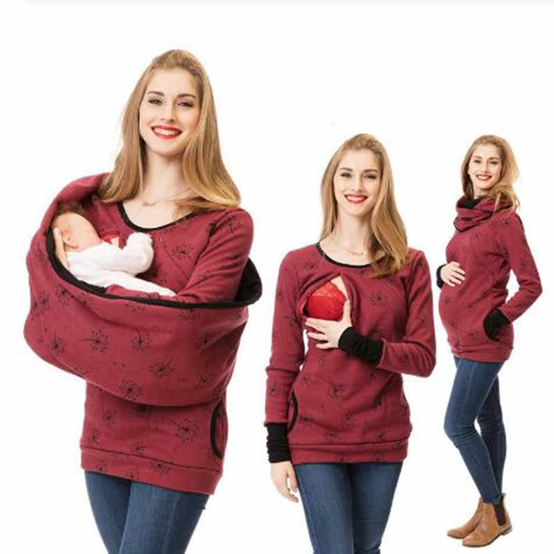 Maternity Nursing Jacket Winter Pregnancy Sweater Shirts Pregnant Women Breastfeeding Hooded Tops T Shirt+Scarf Autumn Clothing