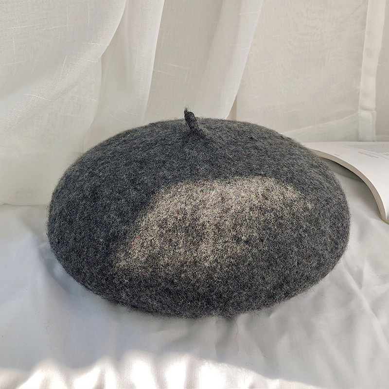 Autumn and winter women's beret casual wool warm hat - Цвет: Темно-серый
