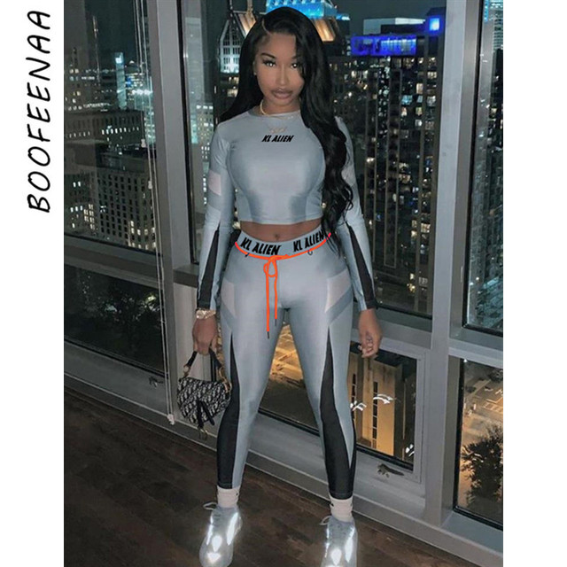 BOOFEENAA Sexy Bodycon Two Piece Set Long Sleeve Crop Top and Sweat Pants Women Clothes Winter Outfits Matching Sets C87-AF36