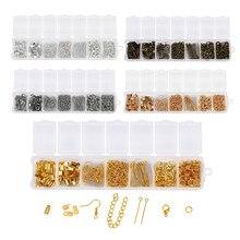 390 sztuk zestaw do tworzenia biżuterii Jump Rings karabińczyk Ear Hook Pins Chain dla DIY tworzenia biżuterii zestaw znalezienie akcesoria dostaw