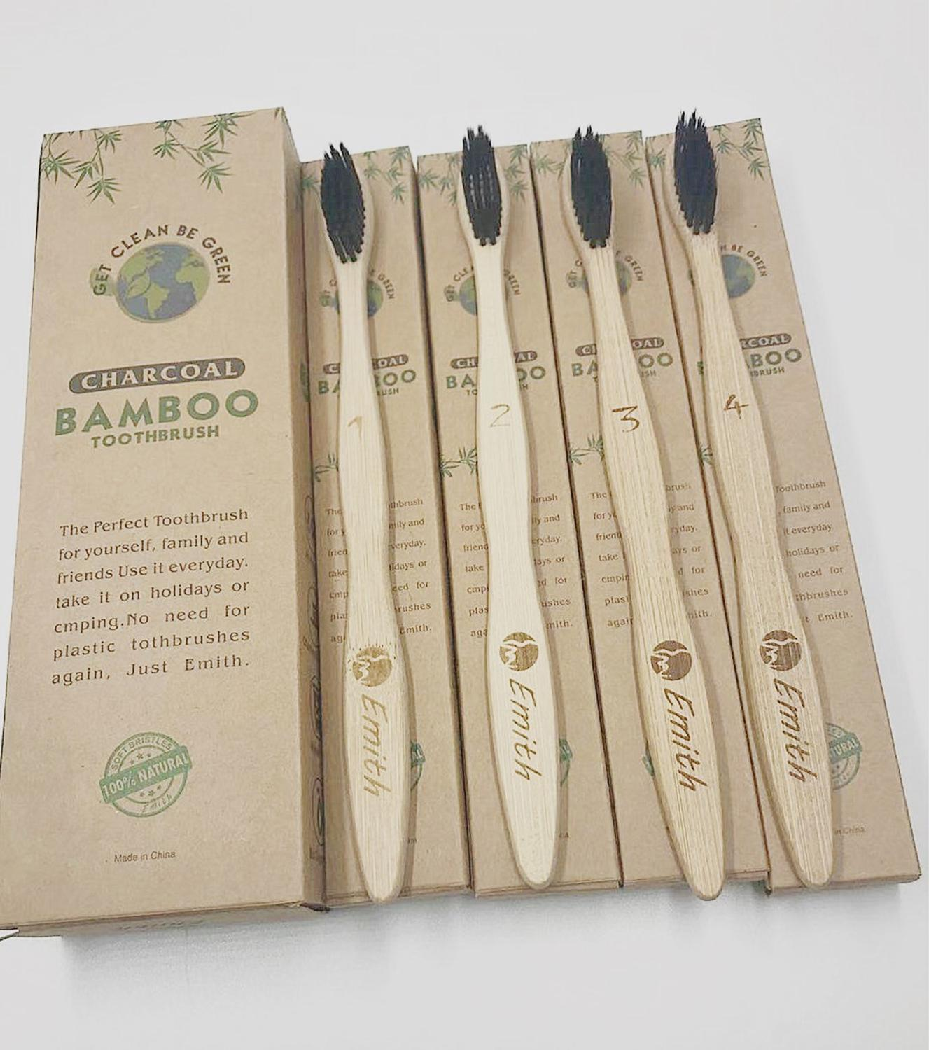 Bamboo Natural Charcoal Toothbrush 4 Pcs In A Pack Eco Friendly BPA Free Toothrbrush Case Soft Bristle Bamboo Handle