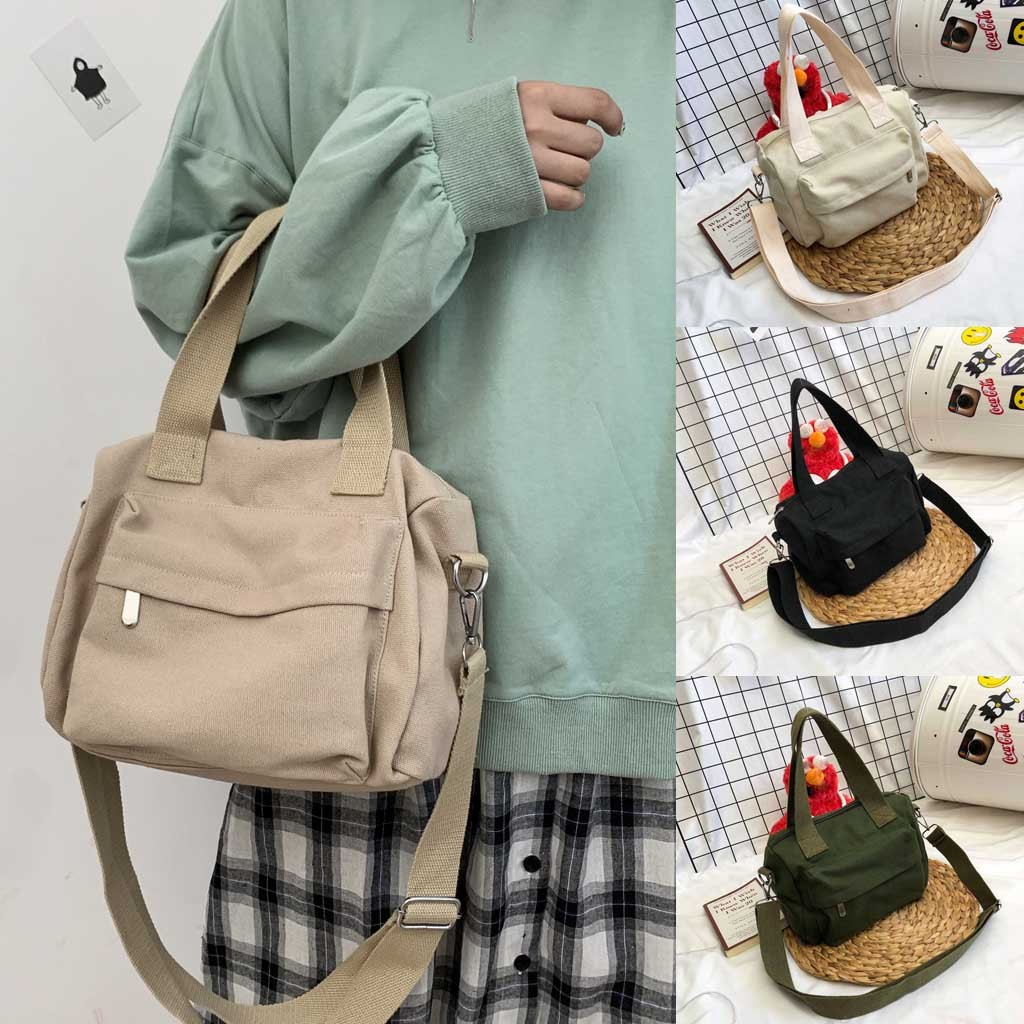 Women's Solid Color Portable Canvas Bag Simple Zipper Shoulder Bags Casual Tote Bag Outdoor Ladies Shopping Bags 2019