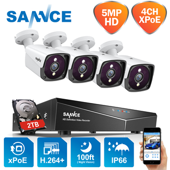 SANNCE 4CH 5MP XPOE HD Video Surveillance Camera System H.264+ NVR With 4X 5MP IP Cameras Outdoor Waterproof Security NVR System 1