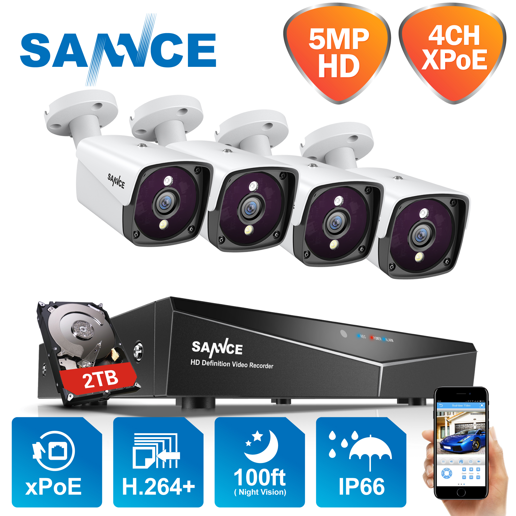 SANNCE 4CH 5MP XPOE Video Security System H.264+ NVR With 5MP 100ft Night Vision IP Outdoor Waterproof Surveillance CCTV Camera
