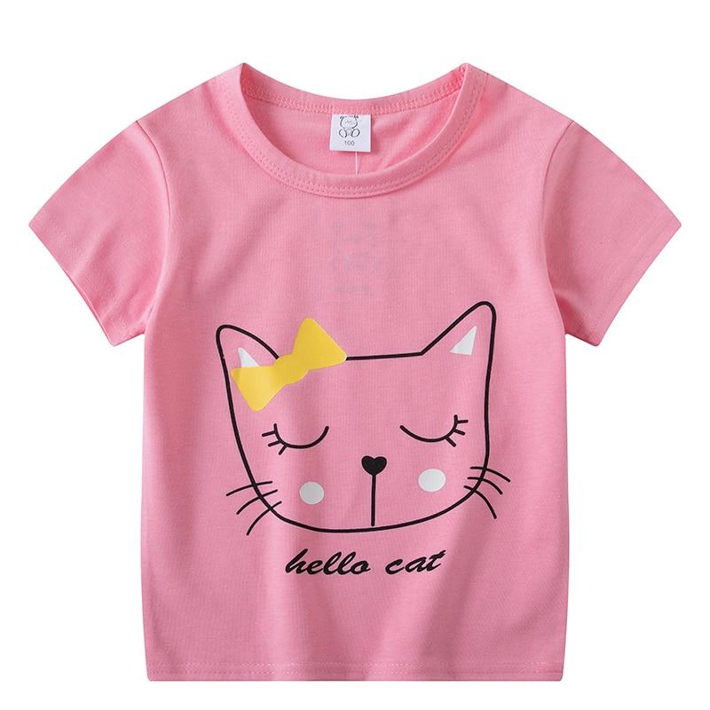 2020 Christmas Boys Girls Short Sleeves T-Shirts Children's Tshirt Pink Cat T Shirt Baby Girl Tops Kids Tees Girls Tops