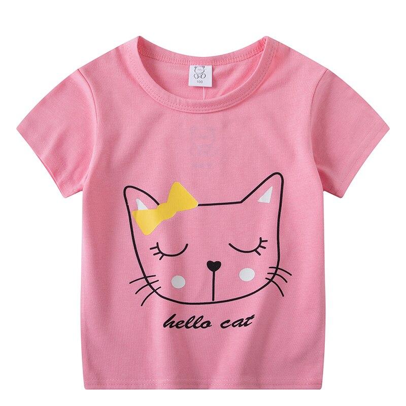 2020 рождественские футболки с короткими рукавами для мальчиков и девочек детская футболка с розовым котом топы для маленьких девочек, детские футболки, топы для девочек|Тройники| - AliExpress