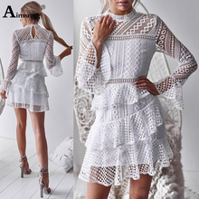 Womens Lace Sexy Dress Hollow Out Mini Vestidos Ladies Party Elegant Dress Robe Femme Autumn Flare Sleeve For Female The Dress цена и фото