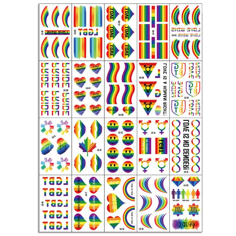 Temporary Fake Tattoo Gay Waterproof Sticker Rainbow Flag Face Cosmetic Leg Arm Body Art For Men Women 20pcs/set