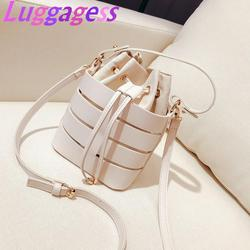 Bucket Bag 2019 New Women PU Leather Summer Wave Simple Crossbody Packages Shoulder bag Portable Fashion Handbags