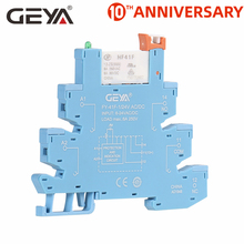 цена на Free Shipping GEYA Din Rail Slim Relay with Socket 6.2mm thickness 1 Channel Relay 12V or 24V or 220V