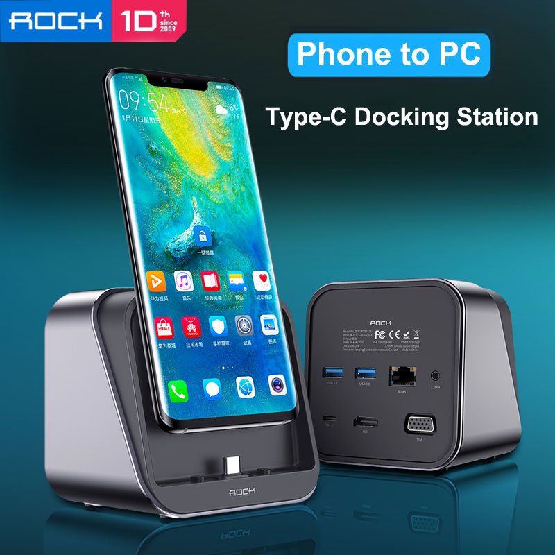 ROCK Type-C Docking Station 4K Phone To PC HDMI VGA Output Network Connection PD Fast Charger Stand For Huawei P30 Mate 20 Pro