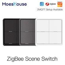4 gang tuya zigbee sem fio 12 cena interruptor botão controlador por bateria 2mqtt configuração automação cenário para dispositivos tuya