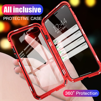 360 Metal Magnetic Phone Case for iPhone 6 6s 8 Plus 7 +Tempered Glass Back Magnet Cases Cover for iPhone X XR Xs Max Case Capa