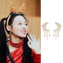 MENGJIQIAO New Korean Metal Zircon Moon Tassel Drop Earrings For Women Students Fashion Boucle D'oreille Party Jewelry Gifts