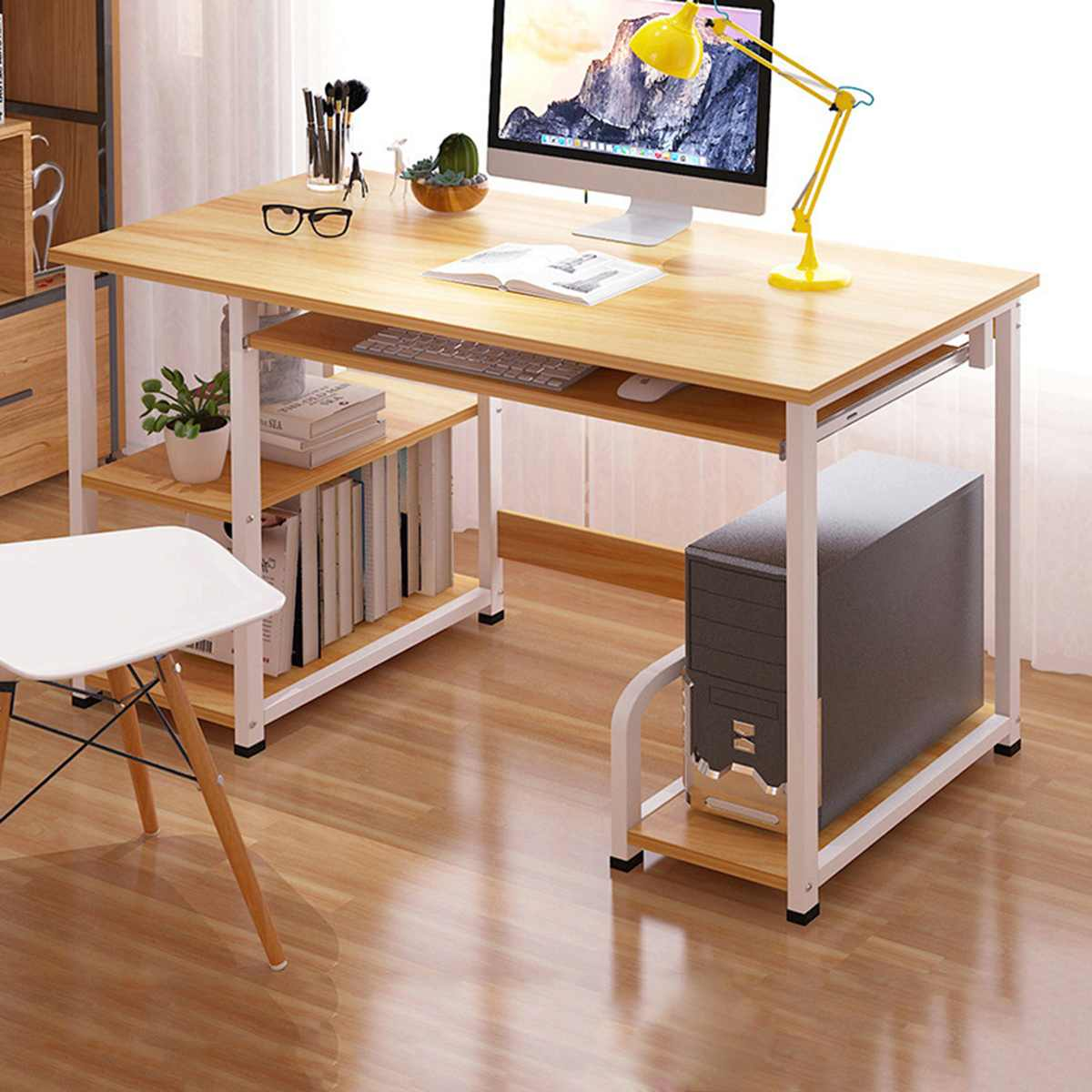 Large size Desktop Notebook Office Bed Tray Escritorio Lap Laptop Stand Bedside Desk Computer Study Table with Storage Organizer 1