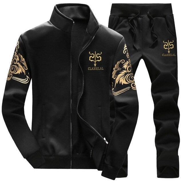 Sportswear Men Tracksuit Sweatshirt Tracksuit Without Hoodie TrackSuit Zipper Outwear 2PC Jacket+Pants Sets
