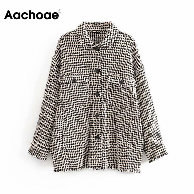 Aachoae Women Fashion Plaid Jacket Batwing Long Sleeve Tweed Coat Female Pockets Turn Down Collar Ladies Tops Outerwear Spring