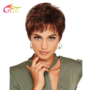 Female Haircut Puffy Straight Natural Short Red Wine Brown Synthetic Hair Wigs for Black Women