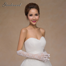 Gloves Lace Wedding-Accessories Elbow-Length Bridal Finger Gardenwed Appliques