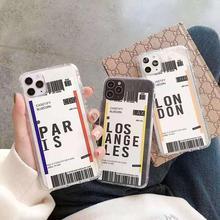 Air Plane Tickets Los Angeles Paris Label Bar Code Case For Huawei P20 P30 Mate 20 30 Honor 8x 9x 10 20 Play Nova 3 3i Pro Case