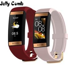 Jelly Comb Women Smart Watch Men Bracelet IPS Color Screen Heart Rate Monitor Bl
