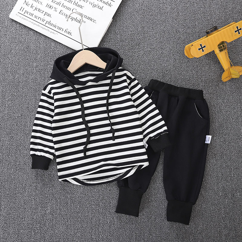 Winter Long Sleeves T-shirt With Hats Child Pants 2pcs Striped Toddler Boy Clothes Children's Sets 1