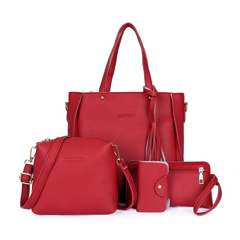 New 4pcs/set Casual Tote Bags Women PU Leather Shoulder Bag Female Tassel Crossbody Messenger Bag Purse For Ladies Handbag Set