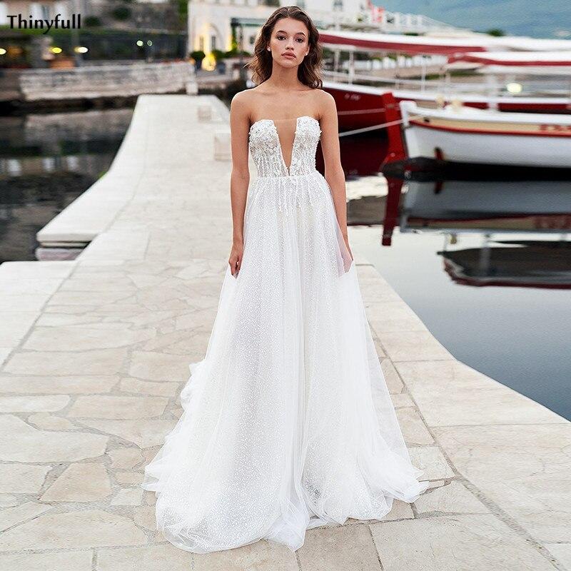 Thinyfull Beach Wedding Dresses 2021 Strapless Illusion Lace Appliques Boho Bride Dress With Train Princess Vestidos De Novia