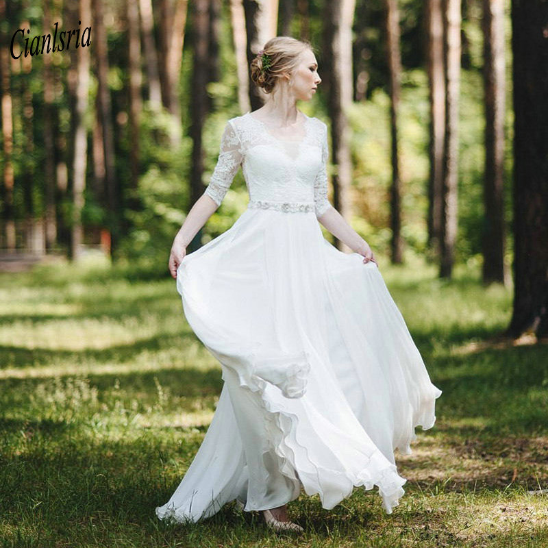 Elegant V-Neck Half Sleeve Country Wedding Dress With Crystal Sashes Appliques Lace Backless Chiffon Long Bridal Wedding Dresses