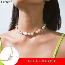 Lacteo Bohemian Imitation Pearl Choker Necklaces for Women Statement Beach Clavicle Chain Necklaces Female Accessories Jewelry цена