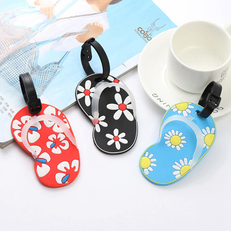 Travel Accessories Fashion Flower Silica Gel Luggage Tag ID Address Holder Baggage Boarding Tag Portable Label Slippers Suitcase