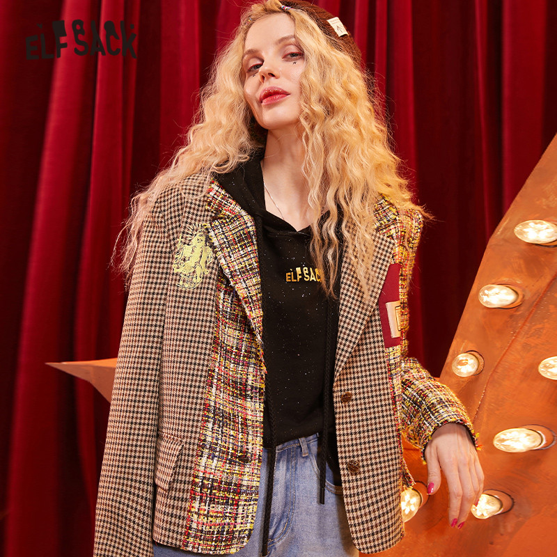 ELFSACK Brown Plaid Vintage Straight Single Button Women Blazer 2020 Winter Patchwork Pocket Long Sleeve Korean Ladies Outwear