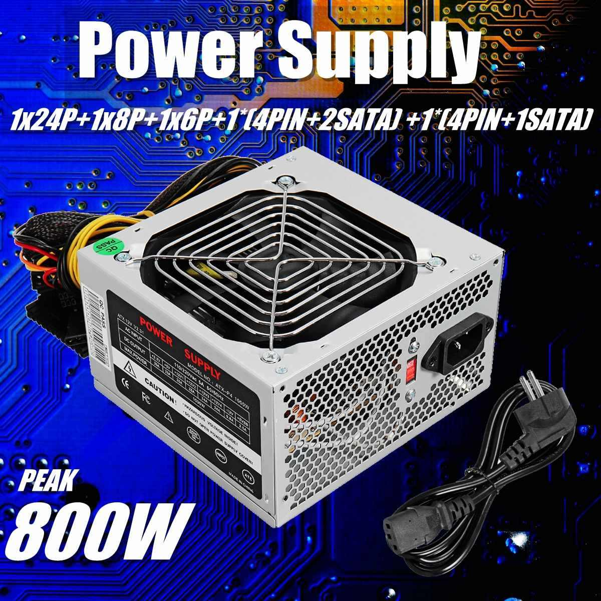 Max 800W Power Supply PSU PFC Silent Fan ATX 24-PIN 12V Komputer PC SATA PC Game power Supply untuk Intel Amd Komputer