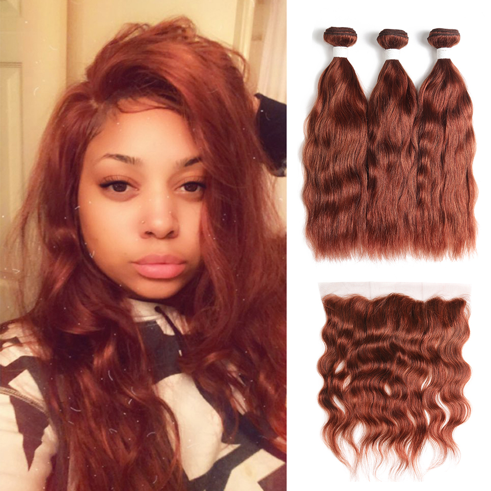 Brown Auburn Human Hair Bundles With Frontal 13x4 KEMY Brazilian Natural Wave Human Hair Weave Bundles With Closure Non-Remy