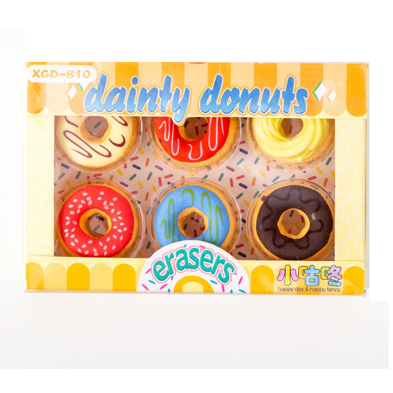 6pcs/lot Candy Color Donut Rubber Eraser Funny Gift Kids's Puzzle Toy Student Learning Office Stationery