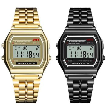 Couple Watches Top Brand LED Digital Watches Women Stainless Steel Watch Men Sport Silicone Square Wrist Watch Electronic Clock