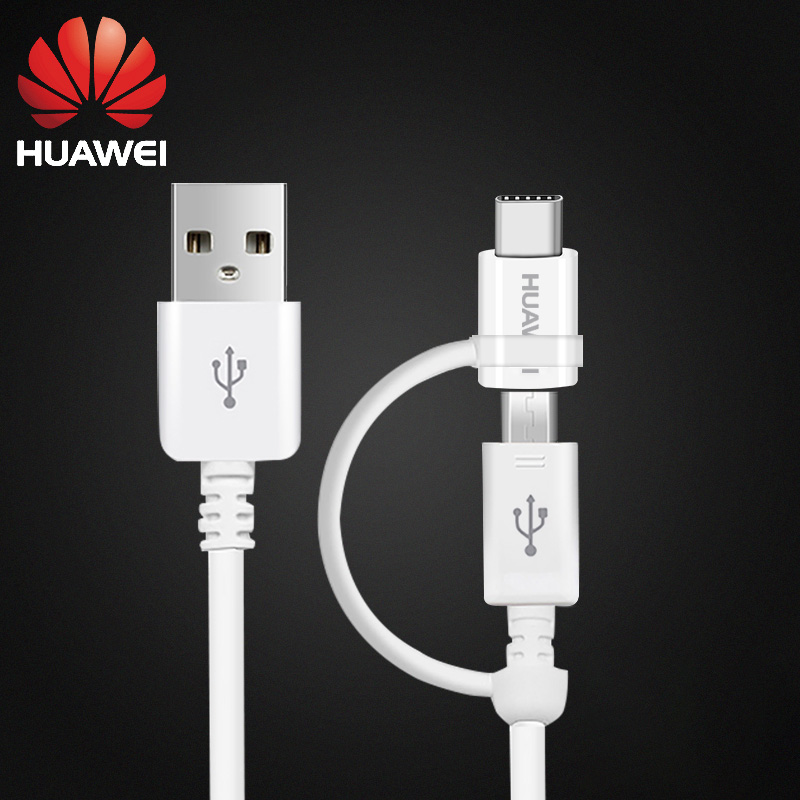 Original <font><b>2</b></font> in <font><b>1</b></font> Micro USB Typc C Cable Huawei P20 Pro Fast Charger 2A <font><b>1</b></font>.5M Type-C Charge Cable Honor 8 9 V9 P7 P8 P9 P10 lite image