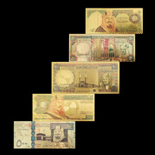 5 pçs/lote 20 50 100 200 500 notas de ouro árabe em 24k ouro falso dinheiro de papel para coleção conjuntos de notas de euro